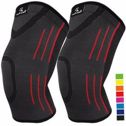 2X Knee Compression Sleeve Arthritis Pain Relief Braces Spor