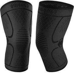 CAMBIVO 2 PACK KNEE BRACE COMPRESSION SLEEVE BLACK LARGE uns