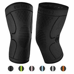 CAMBIVO 2 Pack Knee Brace, Knee Compression |Ns10/Black)
