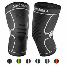 CAMBIVO 2 Pack Knee Brace, Knee Compression |Ns10/Gray)
