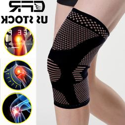 2 X Knee Sleeve Compression Brace Copper Support For Sport J
