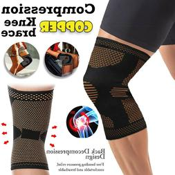 2 X Knee Sleeve Compression Brace Copper Support For Sports