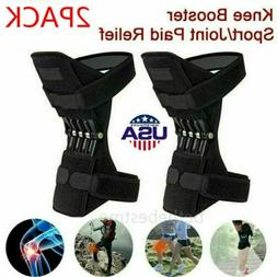 2Pcs Support Brace Knee Pads Booster Lift Squat Sport Power