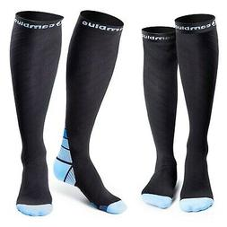 Cambivo 2 Pairs Compression Socks for Women & Men, Sports/Bl