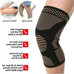 Copper Compression Knee Support Brace Sport Joint Pain Arthr