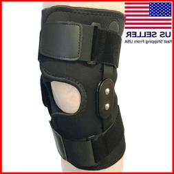 Hinged Knee Brace Adjustable Black Wraparound Open Patella S