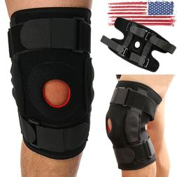 Hinged Knee Brace Support Women Men Adjustable Open Patella