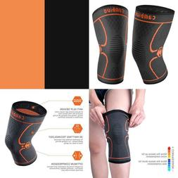 CAMBIVO 2 Pack Knee Brace, Knee Compression Sleeve Support f