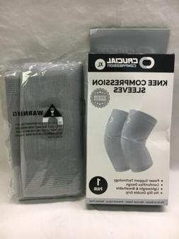 Crucial Compression Knee Brace Compression Sleeves 1 Pair, X