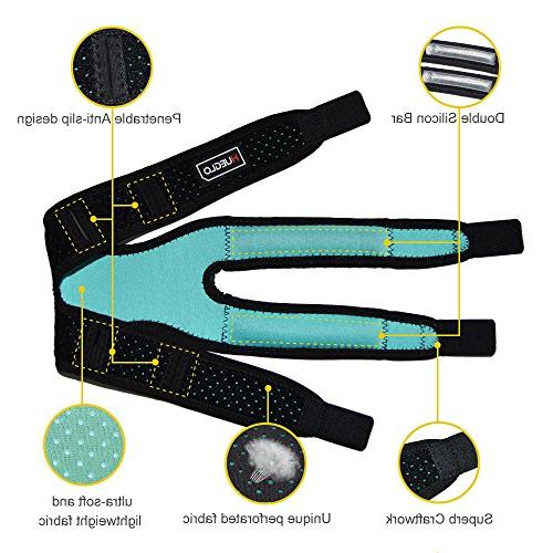 Dual Strap for Pain Relief,Adjustable Neoprene Support for Jumper, Tennis,Injury Recovery,Protection,Black,12''