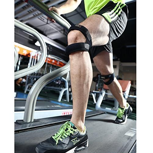 Dual Knee Strap for Neoprene Knee for Arthritis, Tennis,Injury Recovery,Protection,Black,12''