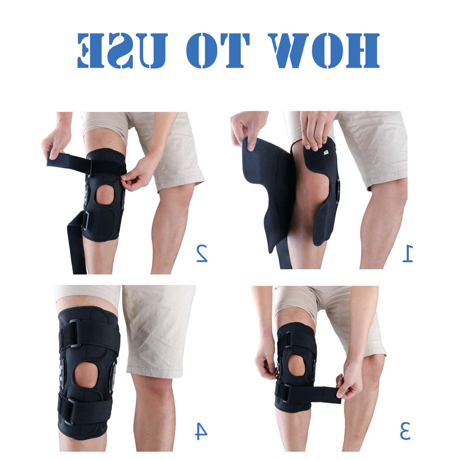 Knee Brace Hinged Sleeve Joint Support Open Patella
