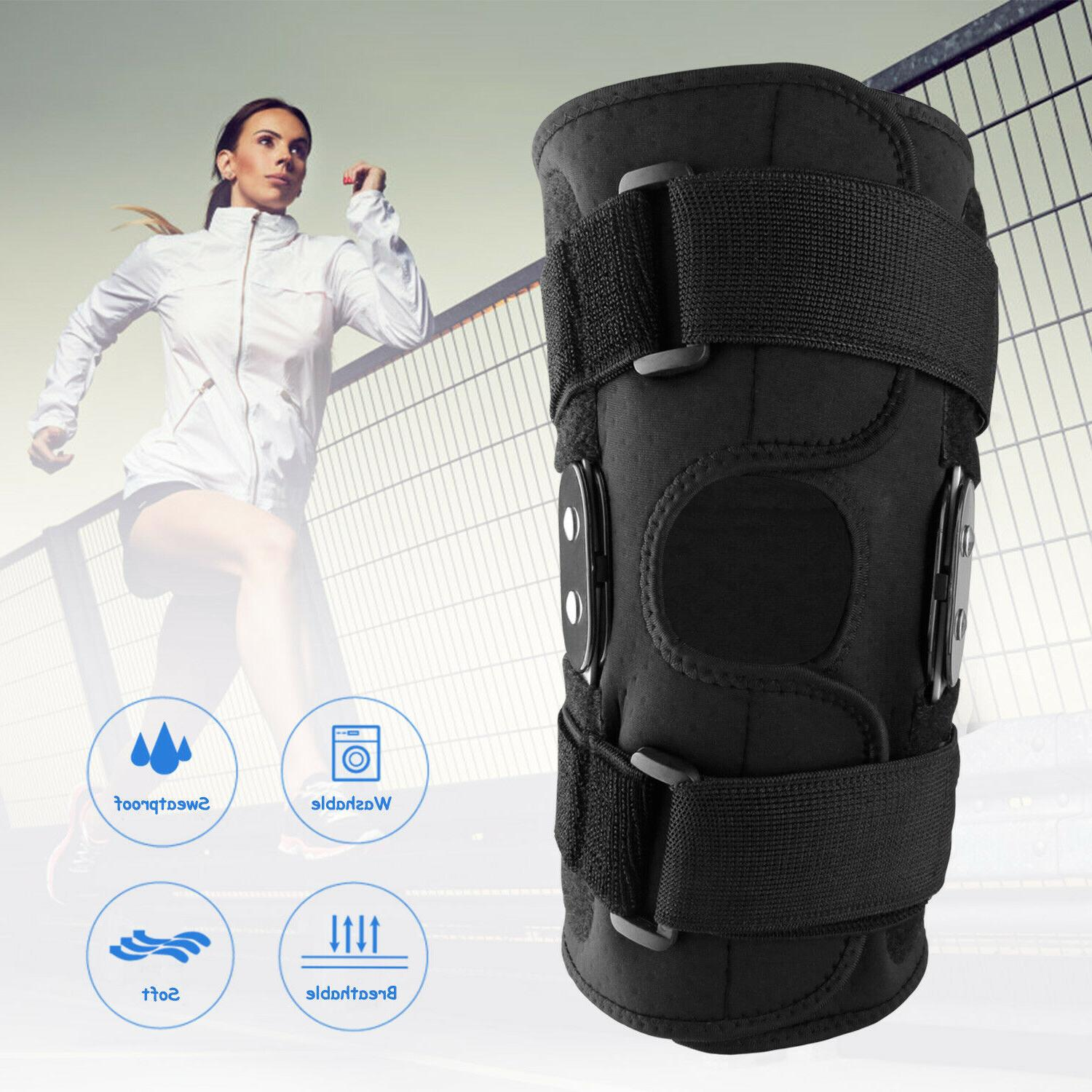 Knee Hinged Sleeve Support Open Patella Stabilizer Wrap