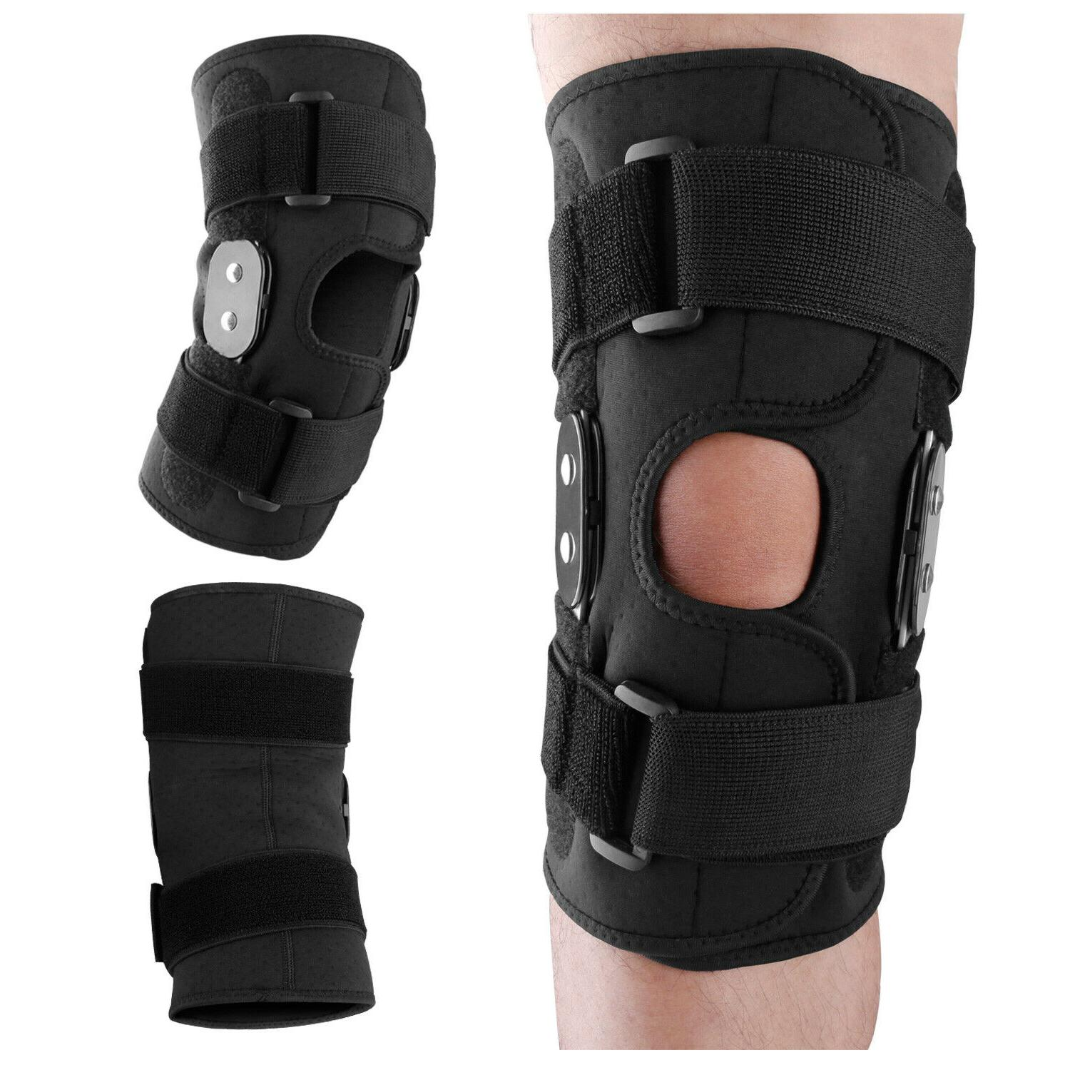 Knee Brace Hinged Compression Sleeve Joint Support Open Pate