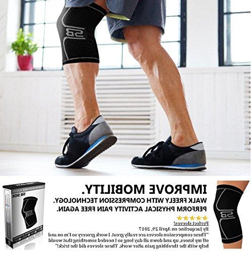 SB SOX Compression Knee Brace for Knee - and Supports Knee Meniscus Tear, Arthritis, Running,