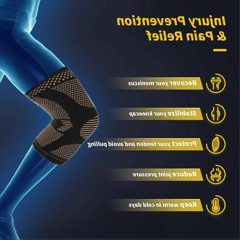 Copper Compression Knee Sleeve Support Pain Arthritis