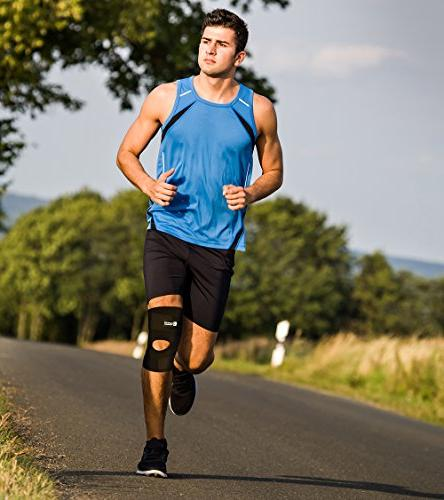 Copper Compression Knee Content Adjustable Brace. Open Patella Stabilizer Neoprene and Injury Recovery