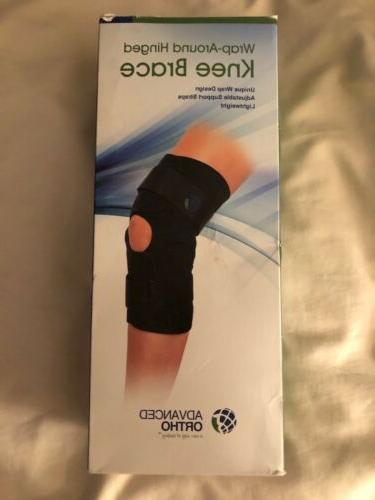 hinged knee brace wrap around adjustable blue