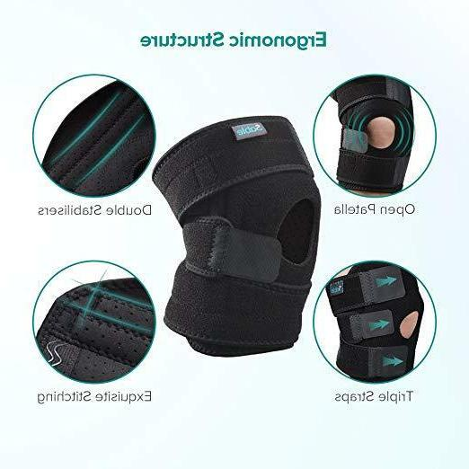 1Pair 3D Knee Patella Support Brace Sleeve Wrap Cap Stabiliz