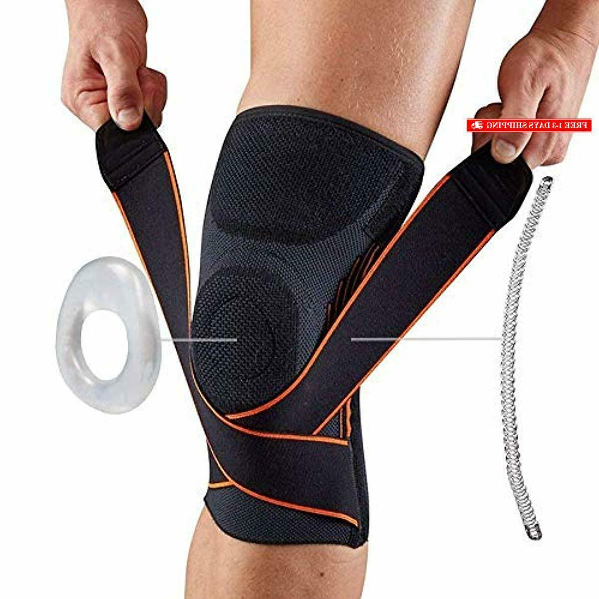 knee compression brace sleeve support with side