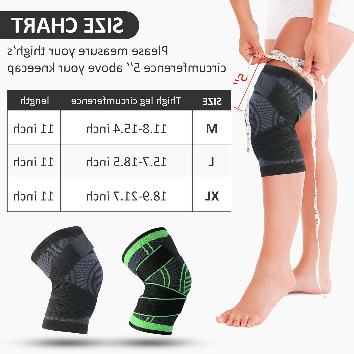 2X Knee Compression Brace Pads Joint Pain