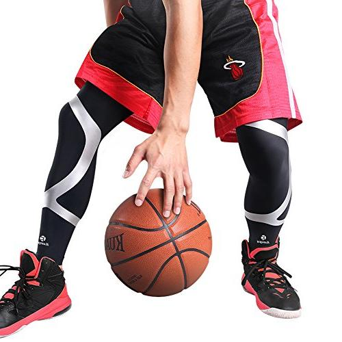 Kuangmi Leg Compression Breathable Sun Basketball,Running,Cycling,Pain Relief,Shin , Large)