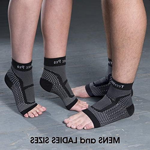 TechWare Compression Sleeve Achilles Plantar Fasciitis Foot with Support Pain. Injury Sports