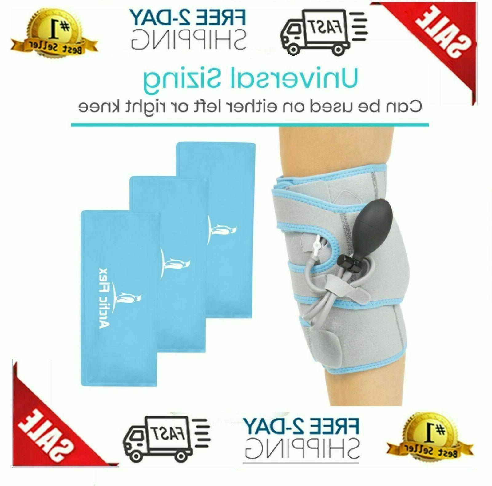 Vive Compression Knee Ice Wrap - Reusable With Air - Hot/Cold