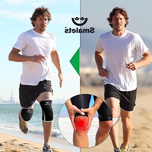 Men's Weightlifting Non Slip Sleeves 7mm 1 Pair Great from Fatigue Black, XXL