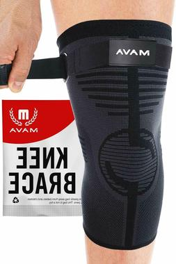 Mava Knee Sleeve with Adjustable Strap Sports Compression Br