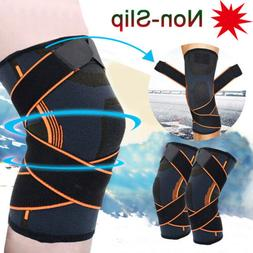 Silicone Grip Knee Brace Support Sport Compression Sleeve Gy