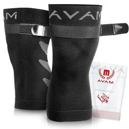 Mava Sports Large Knee Training Brace Sleeve Support with Ad